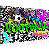 Bilder Fussball Graffiti Wandbild Vlies - Leinwand Bild XXL Format Wandbilder Wohnzimmer Wohnung Deko Kunstdrucke 70 x 40 cm Grün 1 Teilig -100% MADE IN GERMANY - Fertig zum Aufhängen 402614a