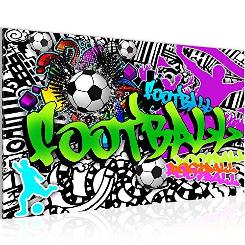 Photo Graffiti de football Décoration Murale 70 x 40 cm Toison - Toile Taille XXL Salon Appartement Décoration Photos d'art Vert 1 parties - 100% MADE IN GERMANY - prêt à accrocher 402614a