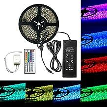 EPBOWPT 5050 SMD 10 m 32.8 ft RGB 600 LED Tiras Kit 60leds/m LED Strip Luz Luz banda Set Tiras Luz IP65 resistente al agua con mando a distancia de 44 teclas + EU Plug DC 24 V/5 A Fuente