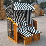 Jalano Zweisitzer Strandkorb mit klappbarer Rückenlehne für 2 Personen 118 x 80 x 160 cm (grün / weiss)