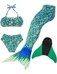 Traje de Baño Girl Sirena Cola - Princesa Cosplay Traje de Baño para Fiesta de Natación con Bikini y Monofin, Set 4 Piezas