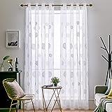 MIULEE 2 Piezas Cortinas Bordado Translucida de Dormitorio Moderno Ventana Visillos Rayas Salon Paneles con Ojales Plateados