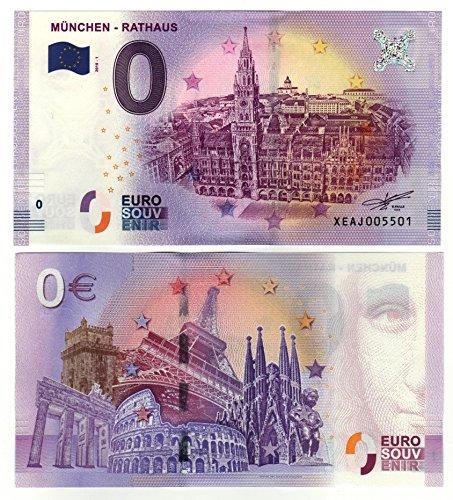 0 Euro Schein München Rathaus 2018' Null Euro Souvenier mit verschiedenen Sehenswürdigkeiten