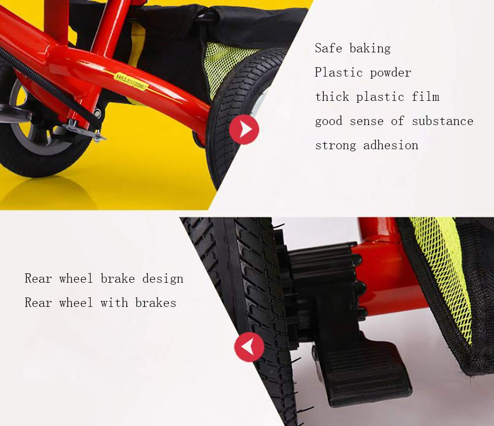 Lhh Kids Three-wheeled Trolley With Awning Foldable Bilateral Steering Titanium Empty Wheels For Kids 6 Months -6 years Old,Blue Lhh [Multi-function tricycle] Bearing capacity: 50KG,Age: 6 months-6 years old,Material: steel tube frame, environmentally friendly PC seat and ,accessories, rubber tire foam tire,Weight: 10.8kg, Specifications total length: 81cm,Width: 56cm,Height: 64cm,Suitable for outdoor horizontal roads or spacious and accessible indoors [Safety Certification] tricycle has a folding function that can be easily placed in the trunk of the car. The tricycle is equipped with an anti-UV 50, a roof adjustable on 3 levels, offer maximum comfort and convenience. Tricycle has a unique feature of two foot rest, one at the bottom of the child seat and others at the front wheel. [Silent Wheels] This stroller is equipped with a high quality titanium vacuum wheel, mute resistance and abrasion are its greatest features, suitable for different road conditions, Such as sand, shock absorbing belt, the lawn, the gravel road, the brick road. 4