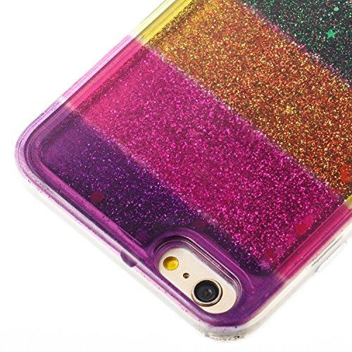 Custodia Per iPhone 6 Plus 5.5 Muovono Liquida Polvere scintillante [Arcobaleno modello] Sequin Cuori Glitter Flowing 3D Creative Disegno Copertura Sottile Gomma Protettivo Caso Modello Soft Shine Bl Attraversare