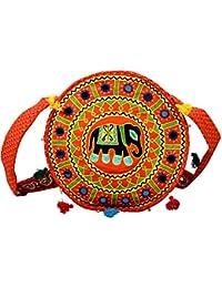 Para Girls Traditional Round Elephant And Mirror Work Girls Sling Bag, Orange