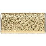 CASPAR TA395 Bolso de Mano Brillo para Mujer/Clutch Fiesta con Estampado de Piel de Serpiente, Color:dorado;Tamaño:Talla Única