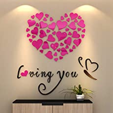 Ouken Love Heart DIY Removable Art Mural Wall Stickers as Home Room Decor (Red) 1PC