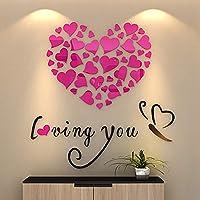 Ouken Amour Coeur Bricolage Art Amovible Mural Stickers muraux comme décoration de la Chambre (Rose-Rouge) 1pc