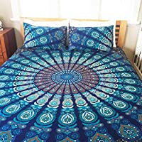 Laavie Peacock Wing Floral Mandala Cotton Bed Sheet bedcover Bohemian Flatbed Linen Cover Wall Hanging with Pillow Cover…