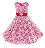 iEFiEL Flower Girls V-Neck Lace Wedding Party Bridesmaid Princess Dance Prom Dresses Rose 5-6 Years