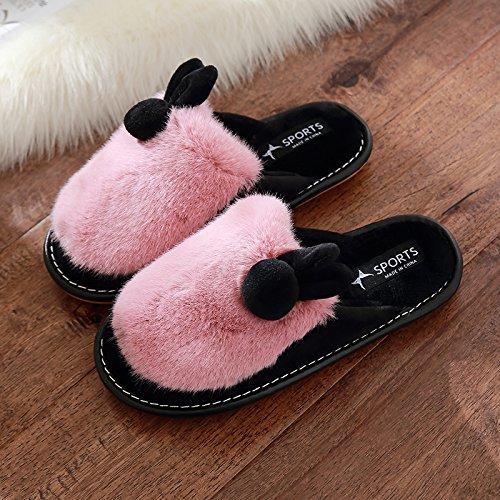 DogHaccd pantofole,Inverno costate di manzo spesse pantofole di peluche femmina soggiorno invernale Piscina home inverno cotone pantofole coppia adorabile Rosso4