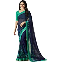 RAJESHWAR FASHION WITH RF Women's Georgette Printed Sarees Jacquard Lace Border Work Sarees For Women With Blouse Piece…