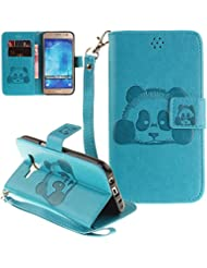 Neu ISENPENK Samsung Galaxy J5(2015)/J500FN/J5(2015) Duos Hülle Leder [Blau] Wallet Magnet,Tiere Muster 3D Panda Galaxy J5(2015)/J500FN/J5(2015) Duos Handyhülle Flip Case Tasche Lederhülle 3-in-1 Bookstyle Geldbörse Tasche,Ständer Standfunktion Schutzhülle Tasche Credit Card Slots