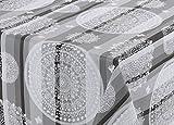 Wachstuch Tischdecke abwischbar rutschfest, Reliefdruck Indisch Ornament grau, Größe wählbar (120 x 140 cm)