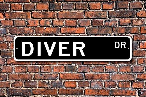Aersing Funny Metall Schilder Diver Schild Geschenk für Taucher Sport Pool Dive Geschenk Scuba Diver Garage Home Yard Zaun Auffahrt Street Decor (Diver Scuba Cave)