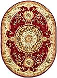 Carpeto Teppich Oval Orientteppich Rot 150 x 295 cm Medaillon Konturenschnitt Muster Iskander Kollektion