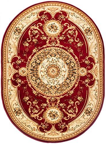 Kashan Roten Teppich (Carpeto Teppich Oval Orientteppich Rot 160 x 220 cm Medaillon Konturenschnitt Muster Iskander Kollektion)