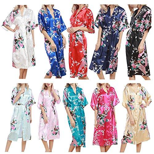 Haodasi Women Plus Size Sleepwear Silk Kimono Robes Peacock Printing Short Sleeve Nightdress Kimono Satin Nightwear Long Style Bathrobe Dressing Gown