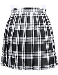 afe51eebe4 OCHENTA Mujeres Falda Escocesa Plisada con Cintura Escuela Uniforme Falda  Cuadros