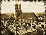 Artland Wand-Bild geweißtes Holz-Bild digital bedruckt mit Motiv Jule München - Frauenkirche Architektur Gebäude Sehenswürdigkeiten Fotografie Sepia 60 x 80 x 4,2 cm A9KQ