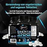 Creatin 4000 – 320 Tabletten – 40 Tage Anwendung – 4000mg Tagesdosierung – Creatin Alkaline + Vitamin B6 – Unterstützung Muskelaufbau + Kraft - 3