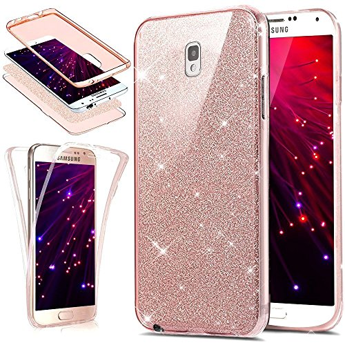 Coque pour Samsung Galaxy Note 4,Samsung Galaxy Note 4 Coque + Verre Trempé Film de Protection, Herbests Samsung Galaxy Note 4 Double Faces Case de Protection Complète à 360° en Soule Soft Silicone Gel TPU Souple avec Cristal Paillettes, Anti-Scratch Screen Protector Fonction Housse Etui Bumper Cover Premium [Anti Choc] [Anti-rayures] [Ultra Fine] [Ultra Mince] [Exact Fit] pour Samsung Galaxy Note 4-Glitter Rose