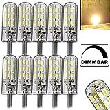 12x Stück- Dimmbare G4 mit 1,5 Watt DIMMBAR und 24 SMDs WARMWEIß 12V DC für Dimmer geeignet Stiftsockel 360° Leuchtmittel Lampensockel Spot Halogenersatz Lampe 10W Halogenersatz
