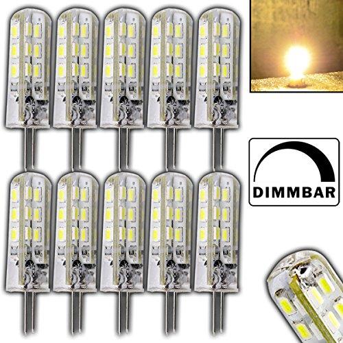 12x Stück- Dimmbare G4 mit 1,5 Watt DIMMBAR und 24 SMDs WARMWEIß 12V DC für Dimmer geeignet Stiftsockel 360° Leuchtmittel Lampensockel Spot Halogenersatz Lampe 10W Halogenersatz (Grad Spot 20w 12)