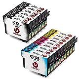 Epson Compatible T0715 Cartouches d'Encre - Uoopo Remplacer pour Epson T0711 T0712 T0713 T0714 Cartouches d'Encre Grande Capacité pour Imprimante Epson Stylus SX100 BX300F SX400 SX200 SX600FW S20 SX105 BX600FW SX218 SX110 DX9400F SX215 SX515W SX510W SX410 DX7400 DX4400 SX115 BX310FN DX8400 SX210 BX610FW SX610FW DX4450 B40W DX7450 DX8450 SX205 D120 BX3450F D78 D92 DX4000 DX4050 DX5000 DX5050 DX6000 DX6050 DX7000F SX209 SX415 SX405 SX405WiFi S21, Pack de 15 (6 noirs, 3 cyan, 3 magenta, 3 jaunes)...