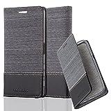 Cadorabo Hülle für Sony Xperia X - Hülle in GRAU SCHWARZ – Handyhülle mit Standfunktion und Kartenfach im Stoff Design - Case Cover Schutzhülle Etui Tasche Book