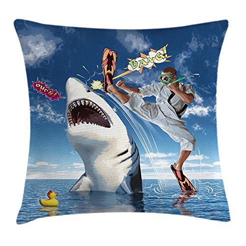 Sealife Throw Pillow Cushion Cover, Unusual Marine Navy Life Animals Fish Sharks with Karate Kid and Comics Balloon Art, Decorative Square Accent Pillow Case, 18 X 18 inches, Multicolor (Halloween-party Kid Karate)