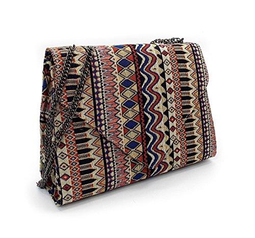 Hard Case Handtasche mit Dreieck Klappe, Magnetverschluss, Kettenhenkel in Mexiko Design, (Sexy Outfits Indian)