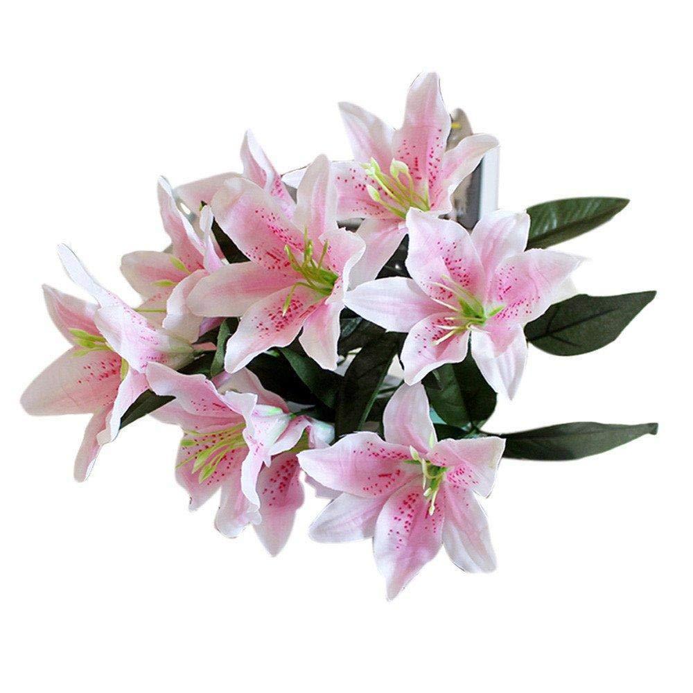 Ramo de flores artificiales WopenJucy, ramo de lirios de seda natural, ramo de 10 cabezas para boda, fiesta, hogar, sala…