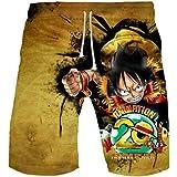 WANHONGYUE Anime One Piece Monkey D Luffy Pantaloncini da Spiaggia Costume da Bagno Uomo 3D Stampato Beach Board Shorts Swim