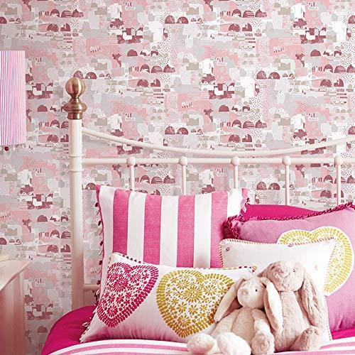 Tapeten Mediterrane blaue Tapete Kunst abstrakte Wohnzimmer Schlafzimmer Kleidung Shop modernen minimalistischen nordischen Stil Ins Tapete, 773003 blass rosa, nur Tapete -