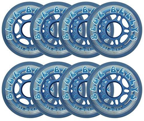 Blue Bellies 8 Inline Skate Wheels 76mm 78a, Clear/Blue by Blue Bellies