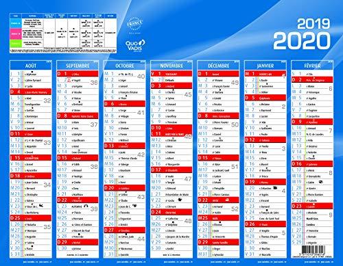 Quo Vadis - 1 Calendrier de banque bleu - Août 2019 à Sept 2020 - 21 x 17 cm