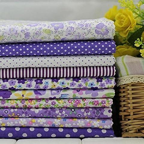 Paquet de Série10 Assorted Pre-Cut Fat Quarters Bundle Cotton Fabri Patchwork Violet 45x45cm