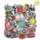 PAMIYO 200 Pezzi DIY Adesivi Originali Vari Brand Creativi impermeabile Muro Stickers per PC Portatili, Auto Moto, Bicicletta, Abbellire Bagaglio, Skateboard, Snowboard, 200 Stili Diversi