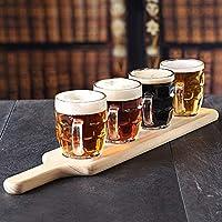 Craft Beer Flight Tasting Set - 5 Piece Set - Wooden Beer Paddle with 4 Half Pint Dimpl...