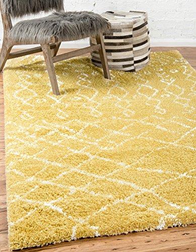 Moderne abstrakte tribal Plüsch Marrakesch Shag modernes Bereich Teppich, gelb, 8 x 10