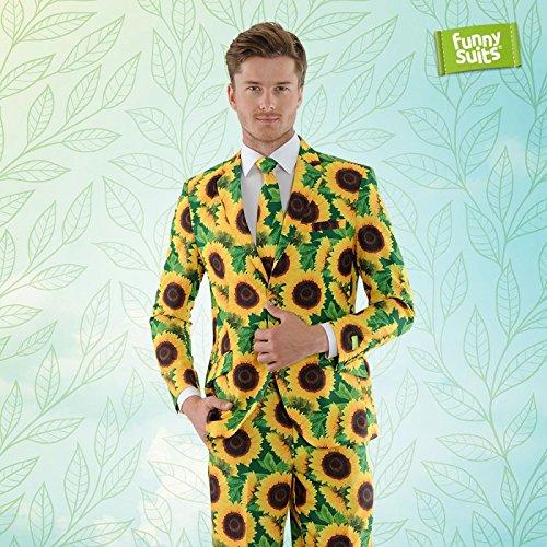 (Funnysuits Sonnenblumen Anzug Blumen Sunflower grün 3-Teiliges Kostüm Deluxe EU Size 48)