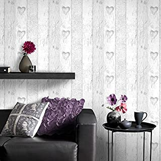 Fresco Great Value Plank Wood Effect Love Heart Print Wallpaper Grey