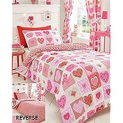 Homespace Direct corazones flores patchwork colcha funda de edredón y 1funda de almohada, rosa, solo