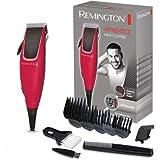 Remington Apprentice Máquina de Cortar Pelo - Cortapelos con Cable, Cuchillas de Acero Inoxidable, 9 Accesorios, Rojo - HC501
