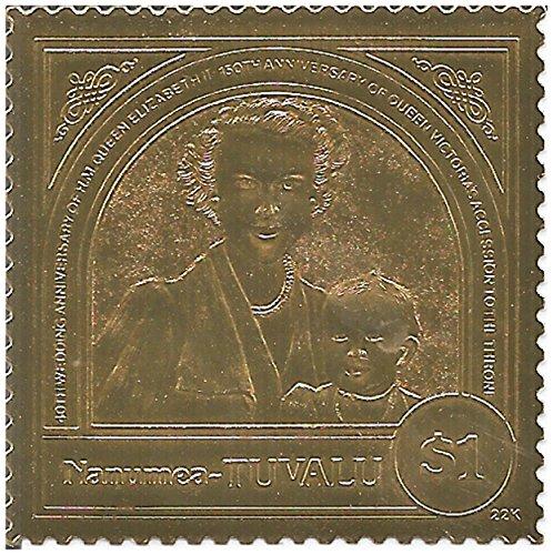 22ct Golf Leaf 40 ° anniversario di matrimonio britannico Queens Elisabetta II e Victoria MNH stamp /