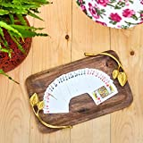 #4: Casa Décor Mango Wood Handcrafted Serving Tray for Dining Tableware, Table Decor Tray with Gold Plated Inlay Metal Handles