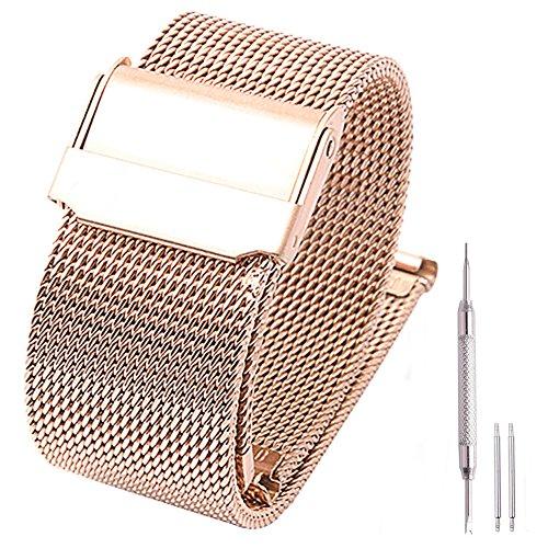Milanaise Edelstahl Mesh Uhrenarmband Metallarmband Uhrenarmbänder Watch Band 22mmm Rosegold