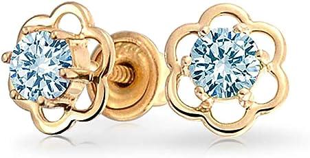 Bling Jewelry Gold 14k simulierten Blauer Topas CZ Sicherheit Kinder Blume Bolzen